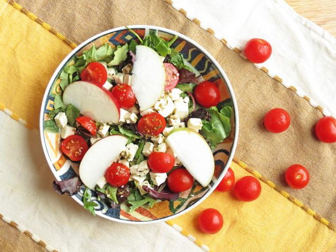 Feta apple salad in a bowl