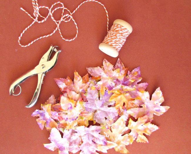 Supplies to make leaf garland