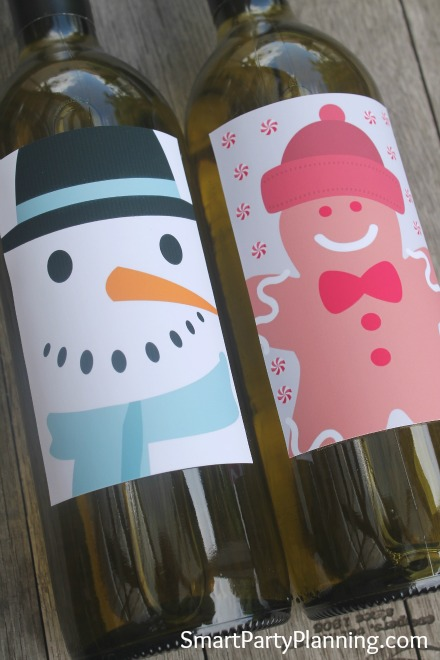 Cute Printable Snowman & Gingerbread Man Wine Labels