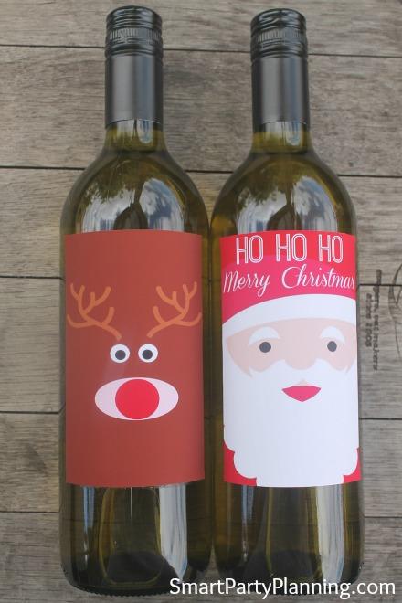 Printable Rudolf & Father Christmas Wine Labels