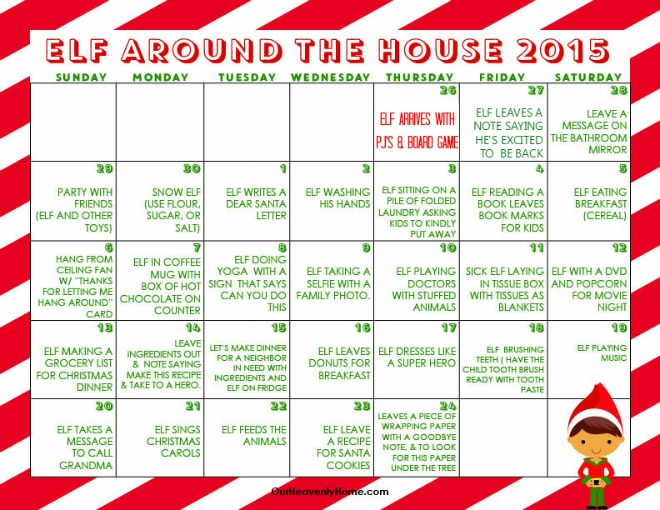 ... this Elf on the shelf ideas printable calendar by Our Heavenly Home