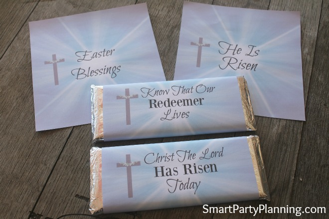 Set of 4 printable religious Easter candy bar wrappers