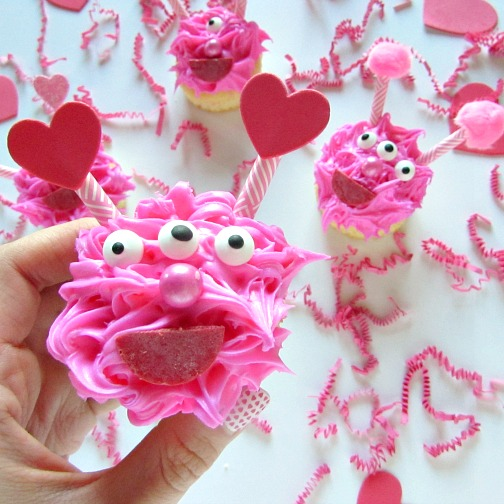 Three eyed love monster cupcakes