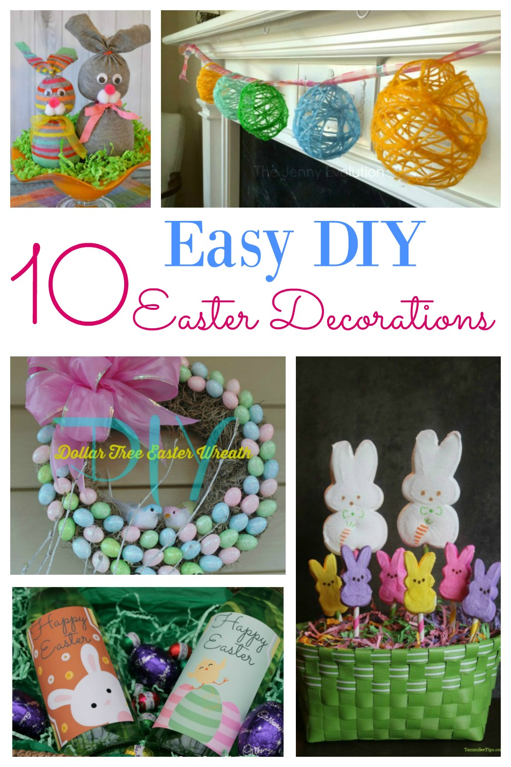 How to make 10 Easy DIY Easter decorations for the home. Including dollar store creations, center pieces, table settings and more. These ideas are simple to replicate and will look beautiful in your home.