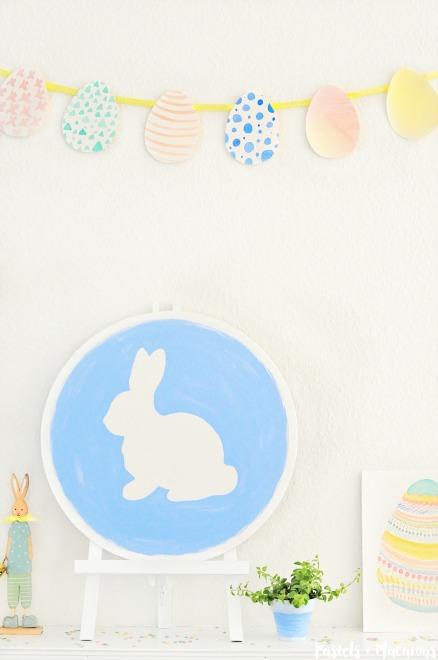 Easter craft mantel.