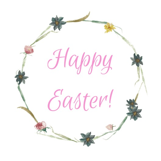 Round pink Happy Easter tag