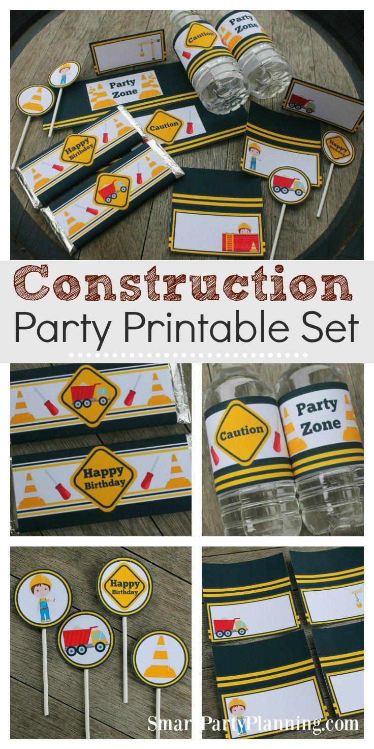 Construction party printable set