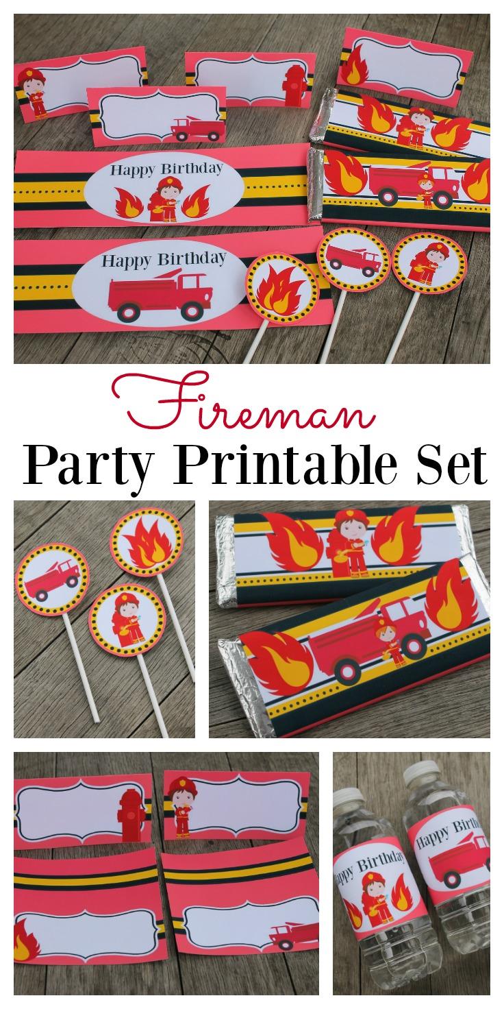 Fireman birthday printable set