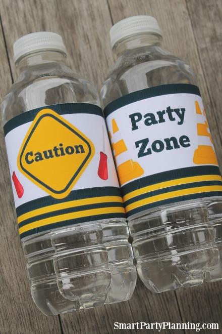 Construction party water bottle labels