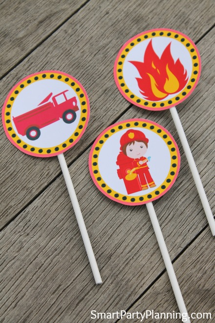 fireman birthday cupcake toppers