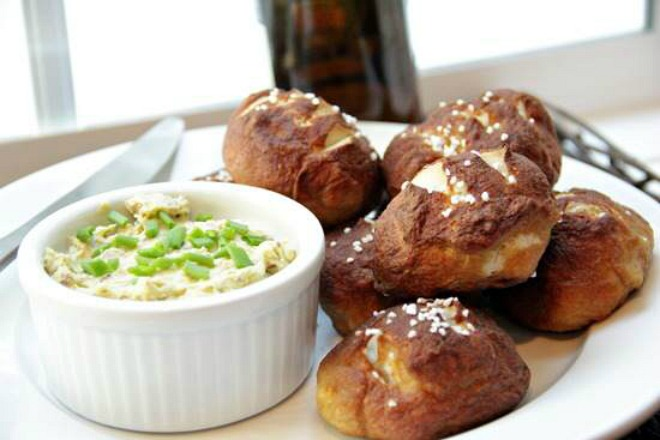 Bacon and cheese pretzel rolls