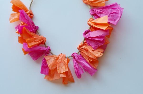 Pink and orange tissue paper lei