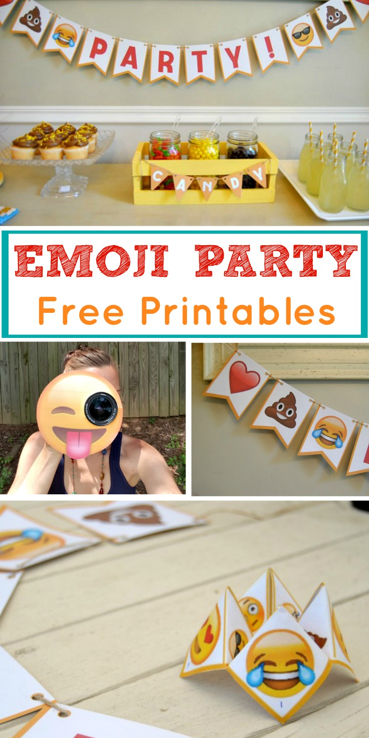 This emoji party package is perfect for your next celebration! Use our FREE printables and throw a low-cost emoticon party of your own!