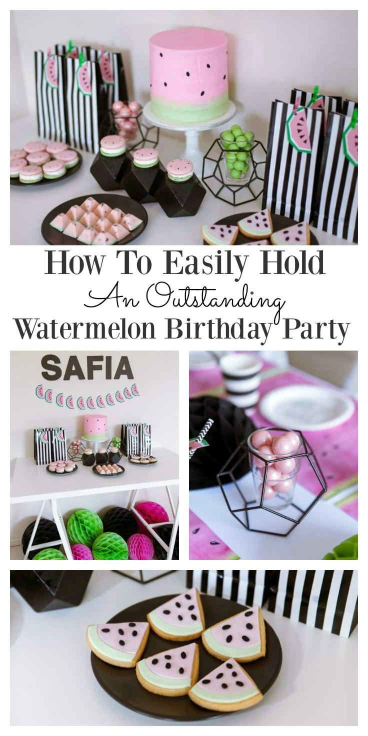 Watermelon birthday party collage