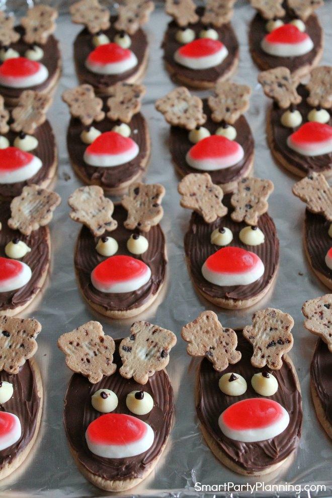 Place eyes on the reindeer cookies