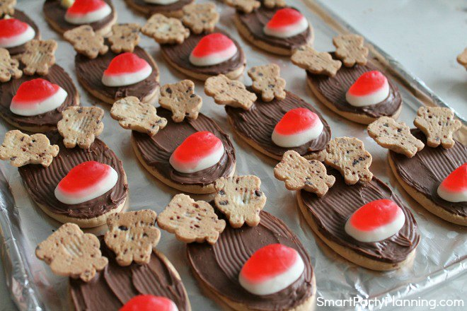 Place the antlers on the reindeer cookies