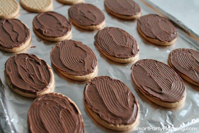 chocolate on the reindeer cookies