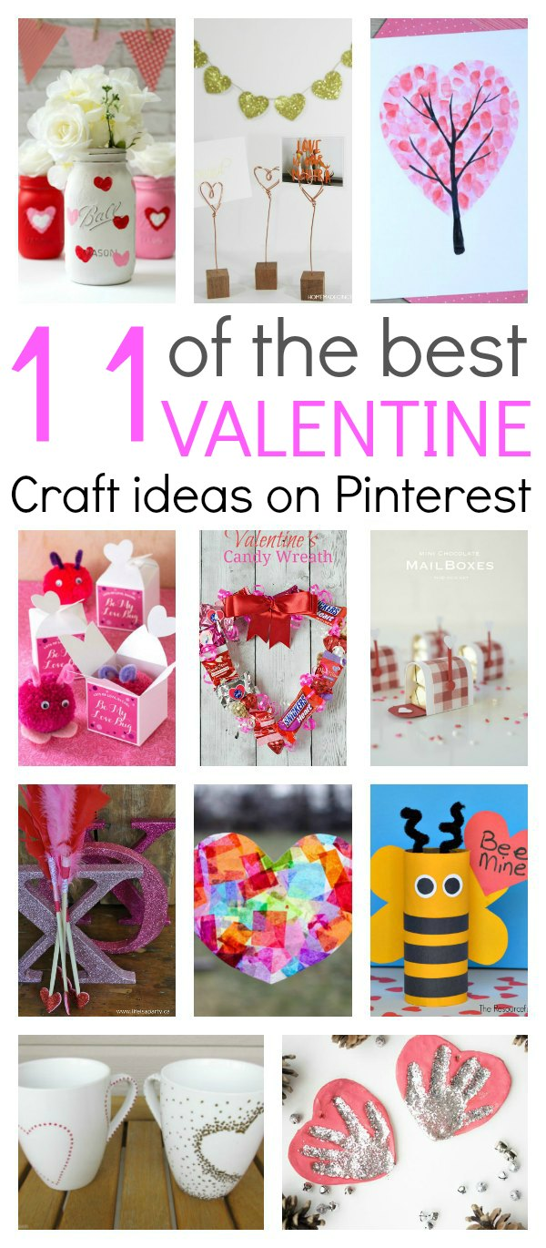 """11 of the best Valentine craft ideas you will find on Pinterest. Simple, easy and fun crafts that everyone can make. Kids can have fun with mason jars, tissue paper, printable's….you name it…it's there. These crafts are the easiest way to say """"I Love You""""."""