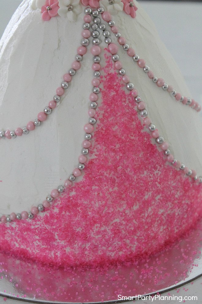 Add sugar crystals to the front of the dress