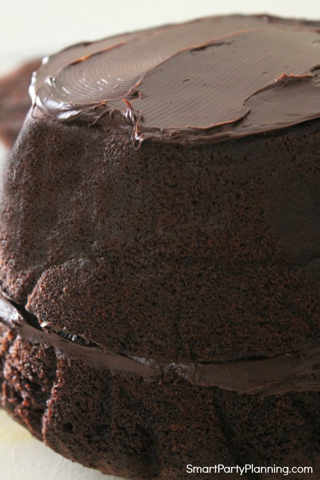 Spread ganache in between the cake layers