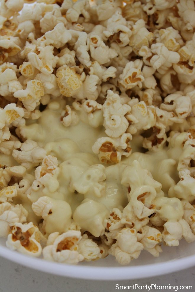 Melted chocolate on popcorn