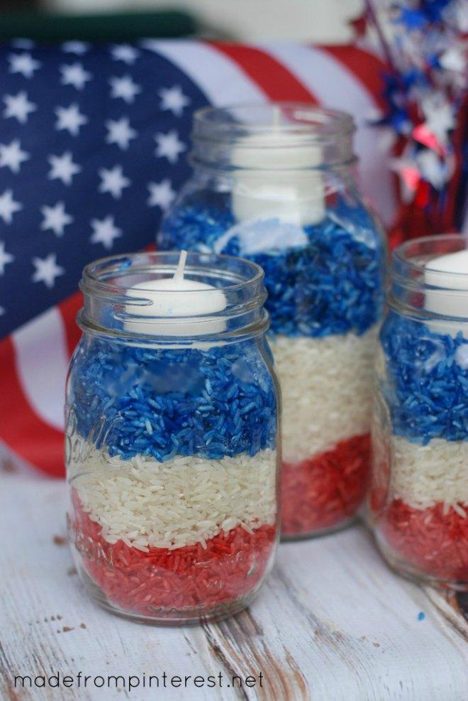 4th of July Mason Jar Candles