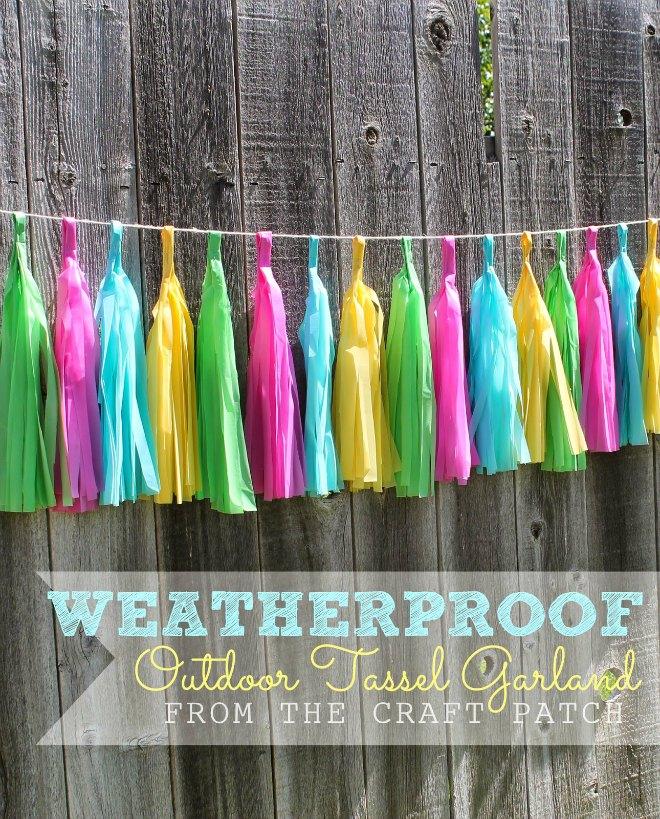Outdoor plastic tablecloth tassel garland