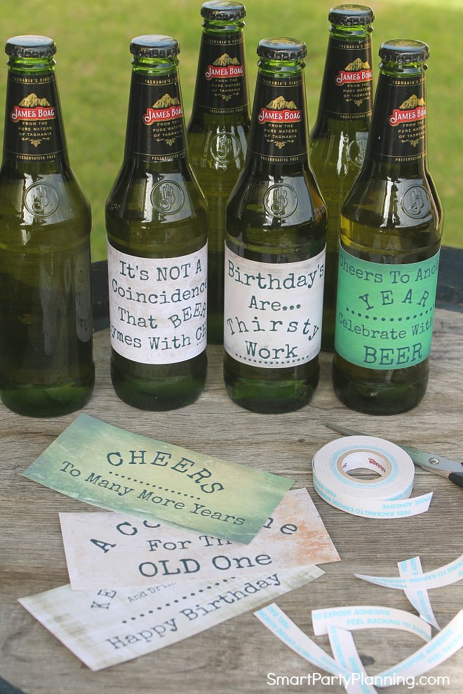 Attach labels to all beer bottles