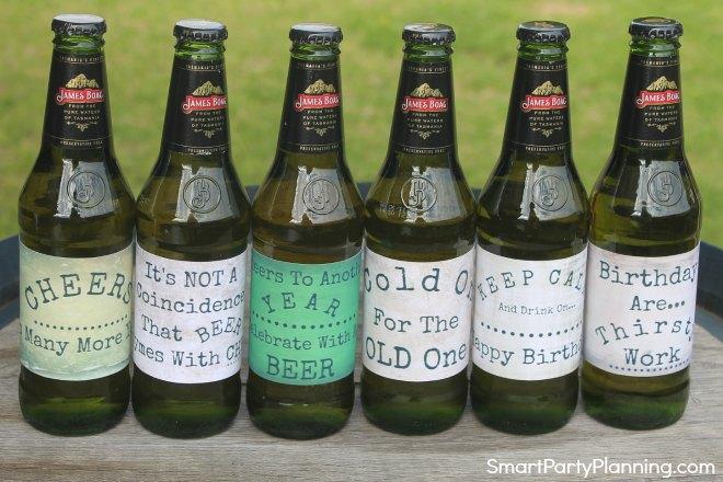 Set of 6 printable birthday beer labels