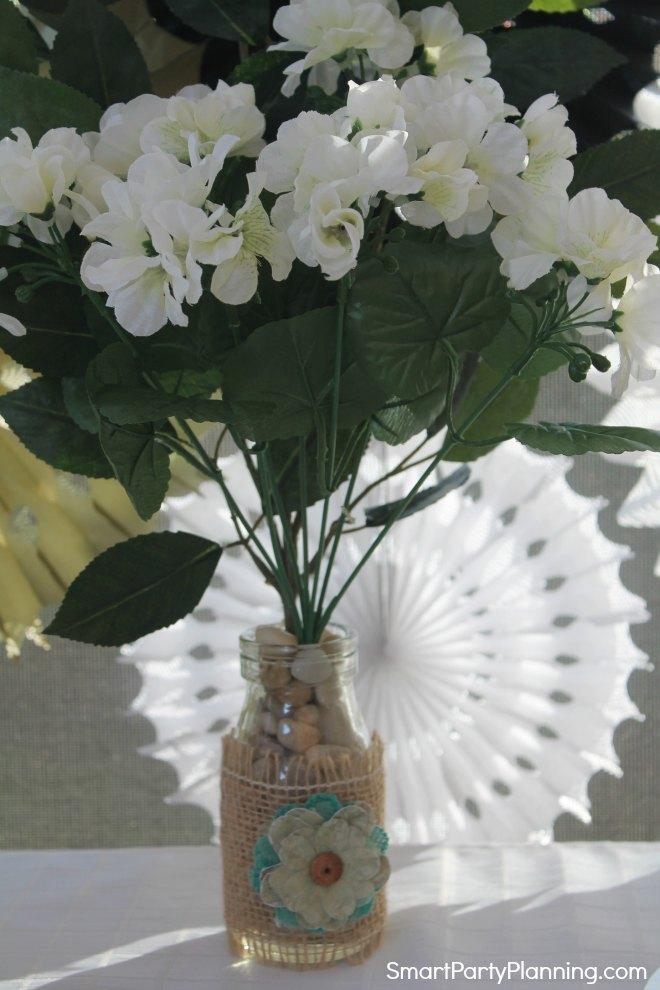 White fake flowers