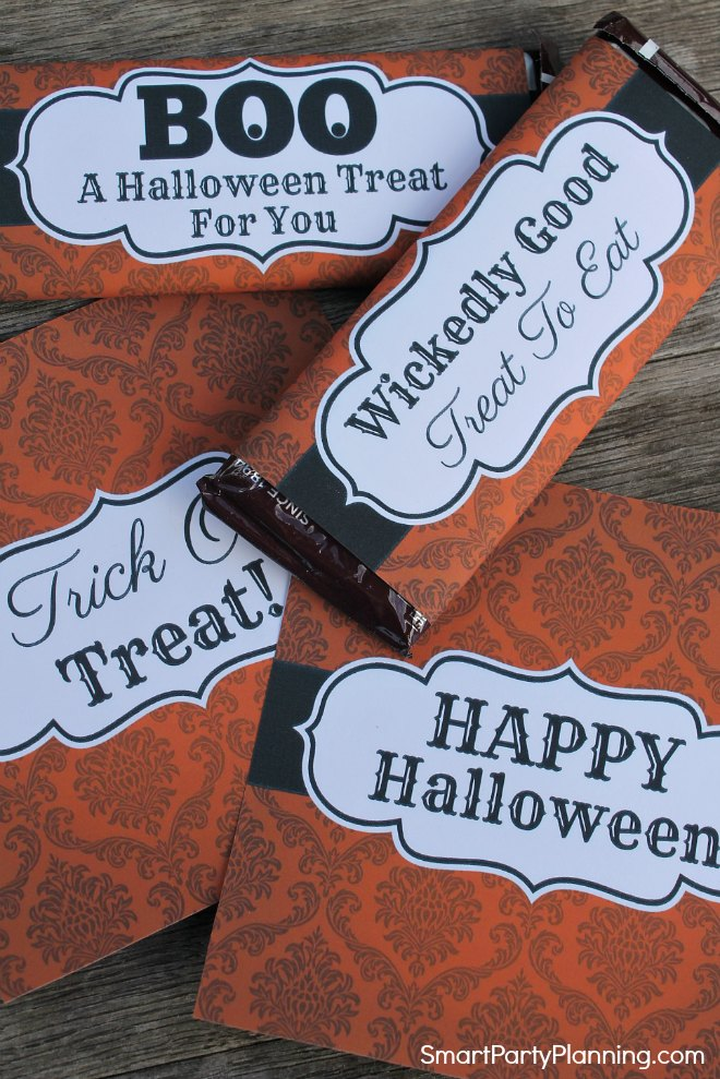 4 Halloween Candy Bar Wrappers