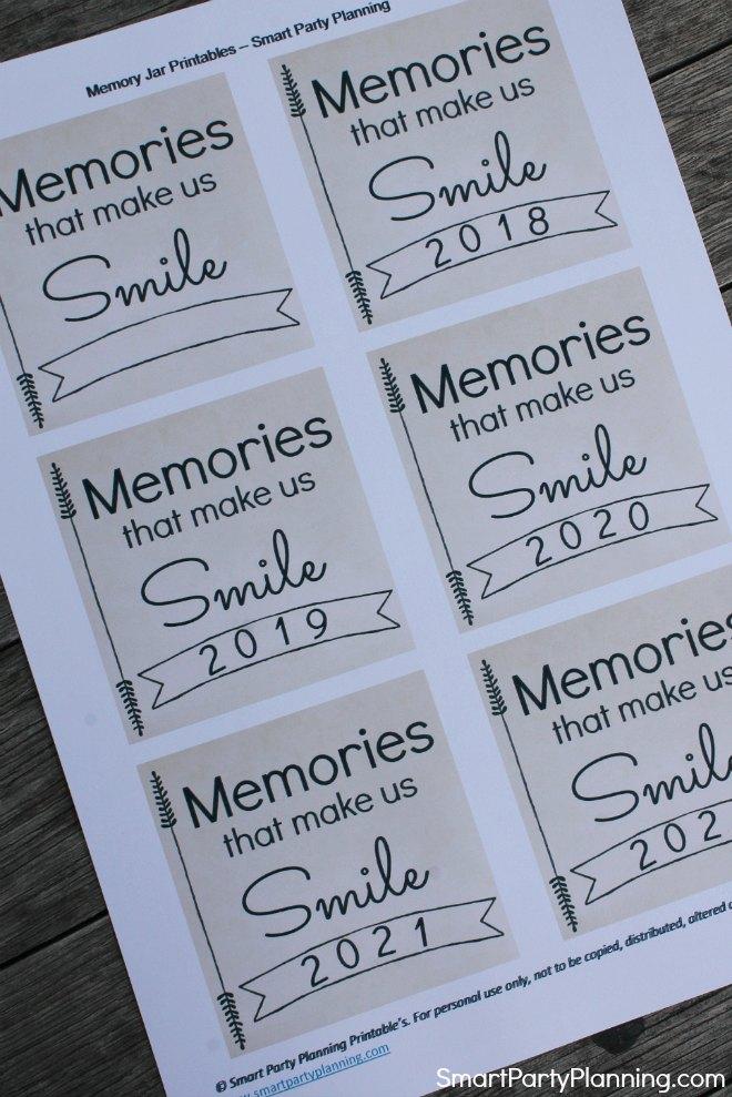 Memories that make us smile printable memory jar