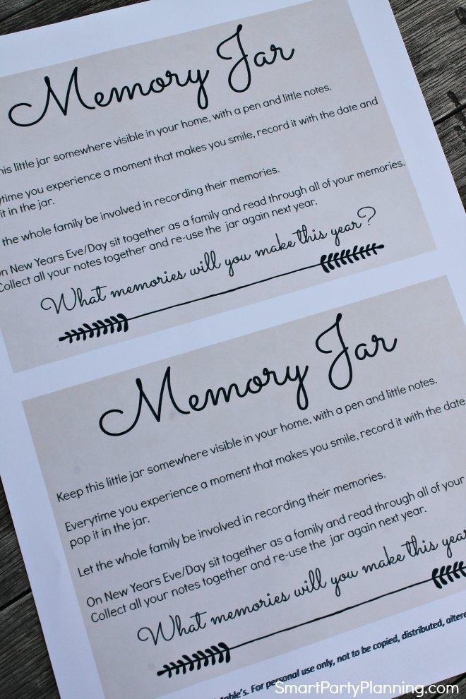 Memory Jar Instruction Sheet
