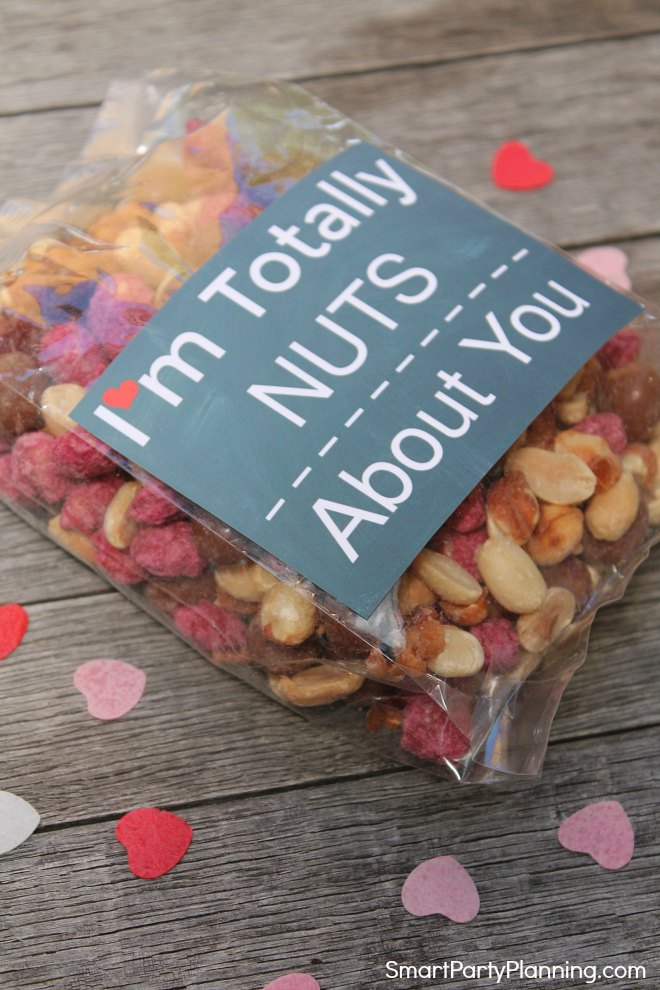 Valentine printable on bag of nuts as a gift