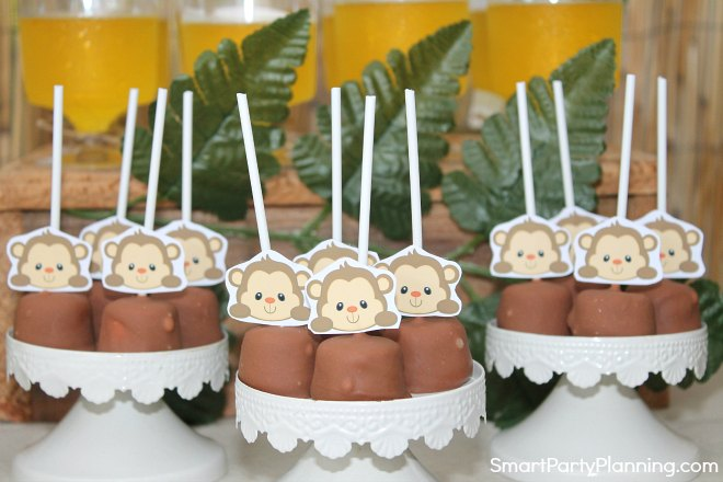 Monkey pops displayed at a party