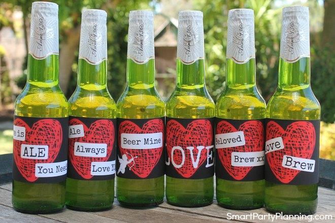 Set of 6 Heart Valentine beer labels