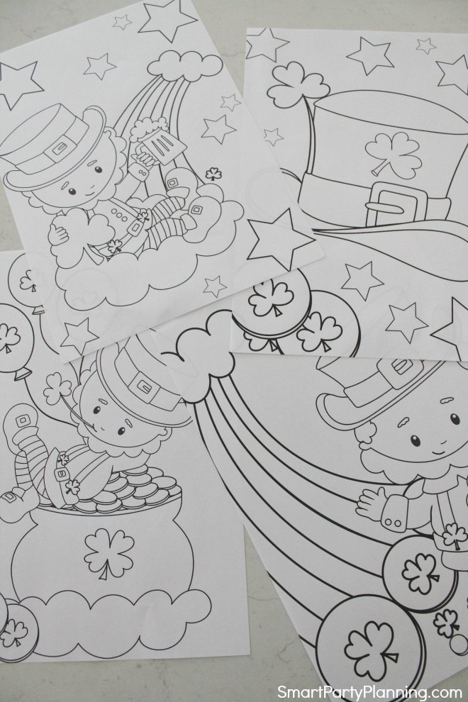 4 cute Leprechaun coloring sheets