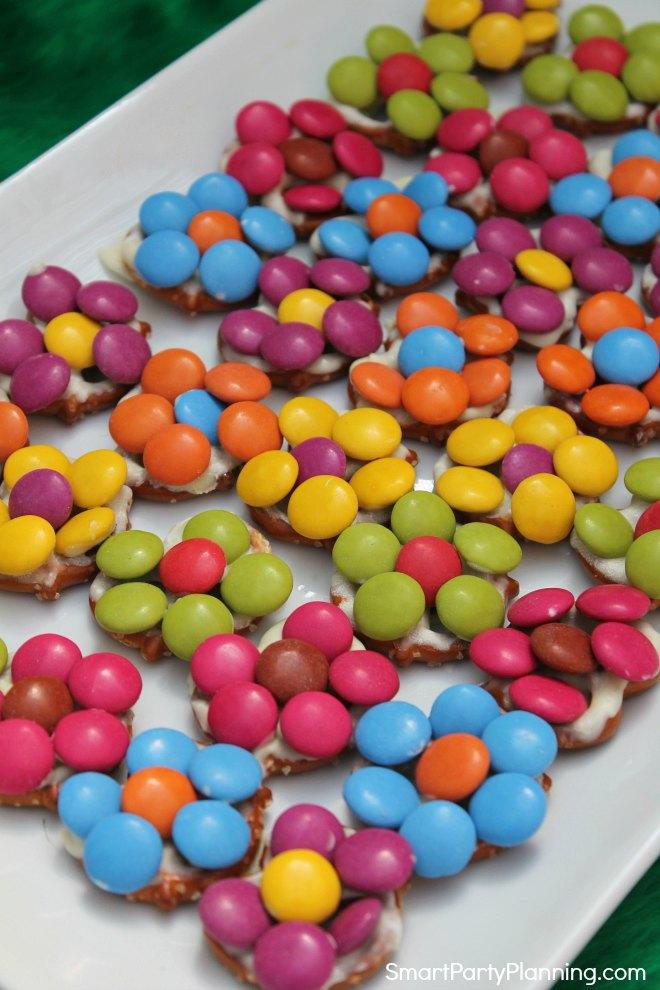 Plate of colorful pretzel flowers