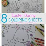 8 Easter bunny coloring sheets