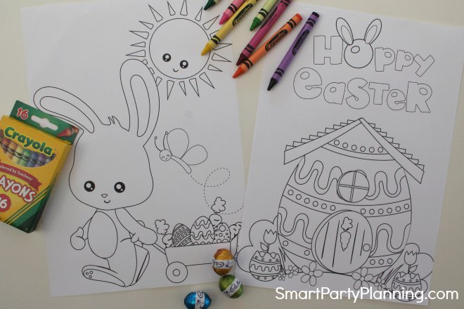 Printable Easter bunny cart and house coloring sheets