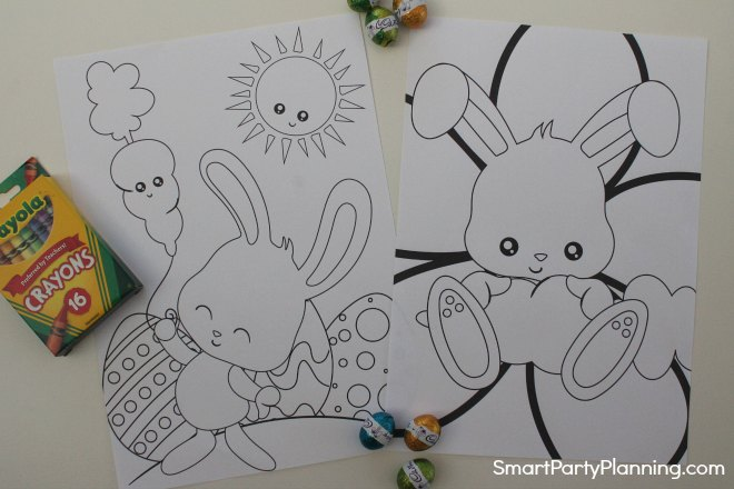 Two Easter bunny coloring sheets