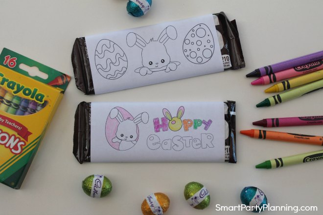 Two Easter bunny printable candy bar wrappers