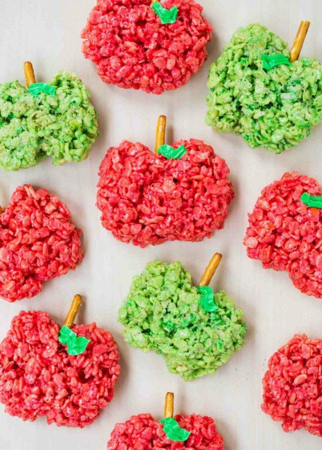 Apple shaped rice krispie treats