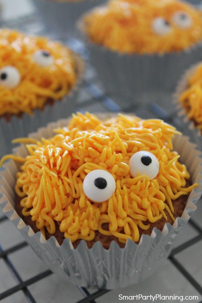 Orange monster cupcakes with eyes