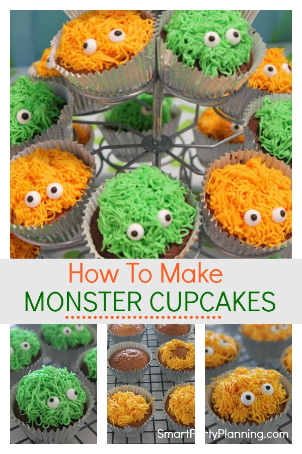 Learn how to make these adorable monster cupcakes with eyes. They are easy to make for either a birthday or Halloween party.With a simple piping technique and some cute little candy eyes, the kids are going to love them.