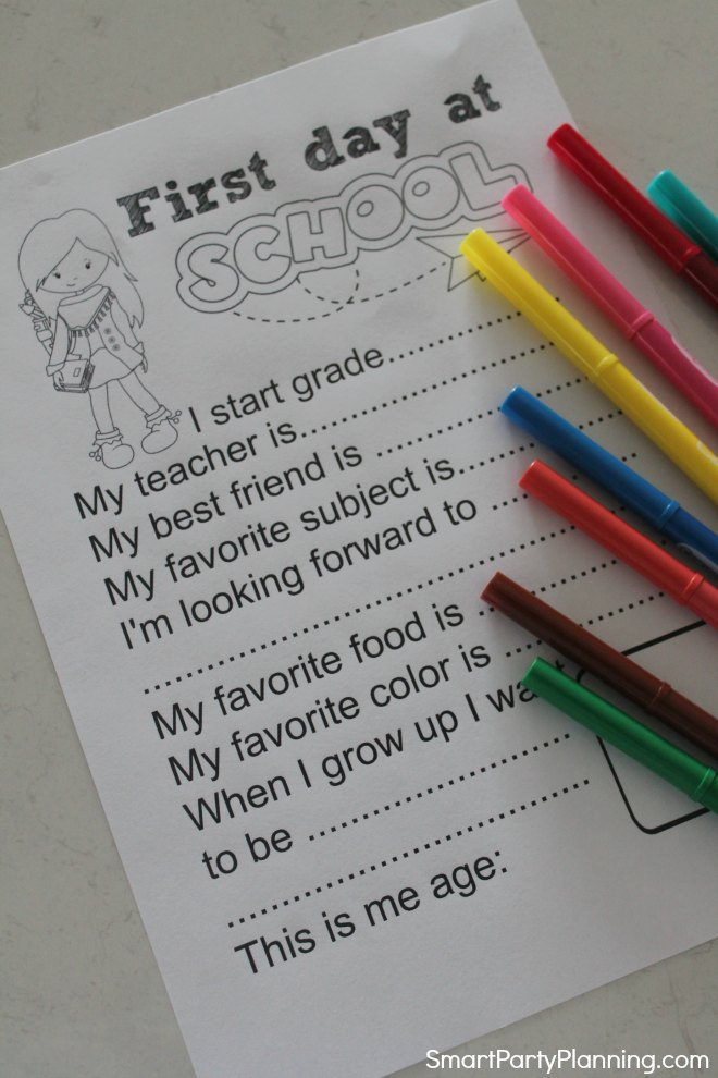 Printed copy of the First day of school questionnaire