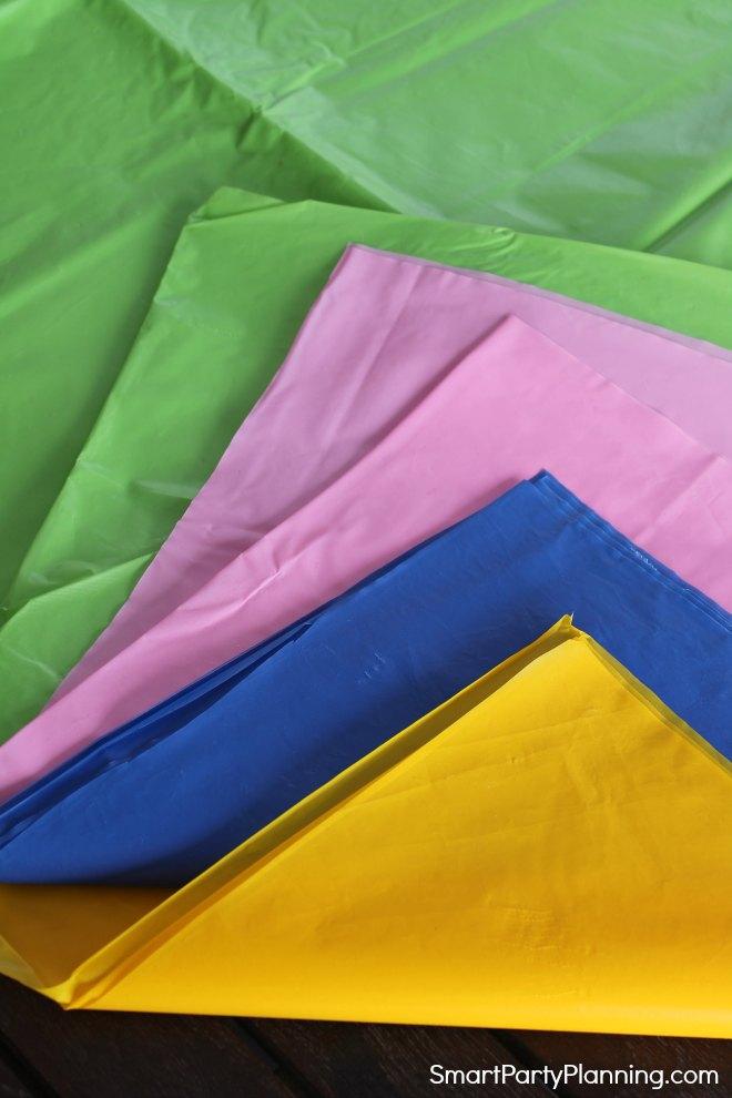 Bright plastic tablecloths