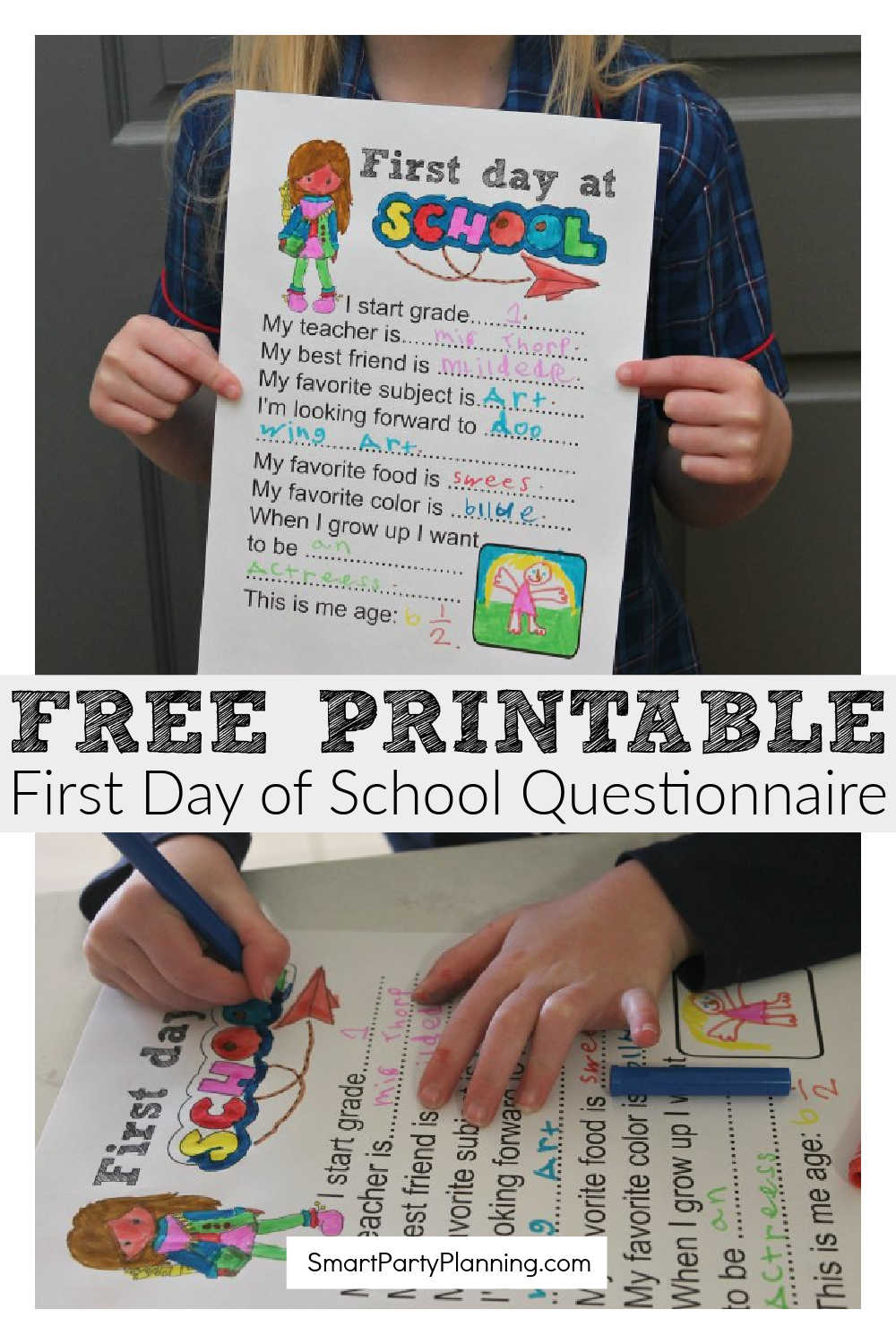 Free printable first day of school questionnaire