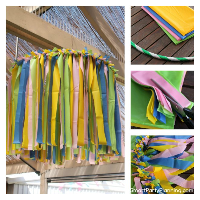 How to make a plastic tablecloth chandelier