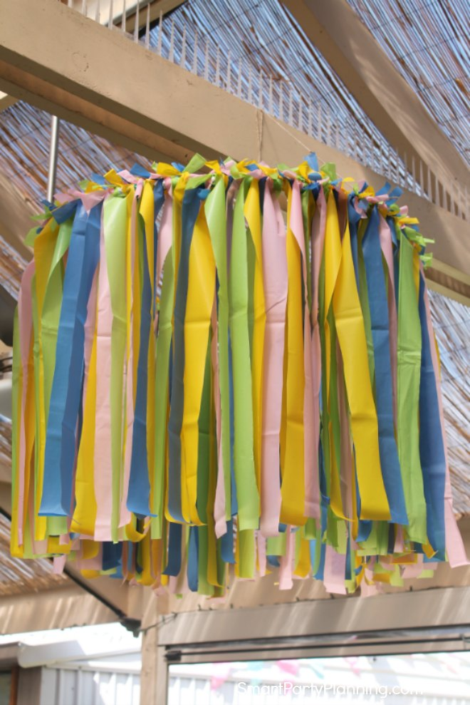 Plastic tablecloth ceiling decoration hanging up